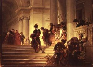 FAB20105 Cesare Borgia leaving the Vatican by Gatteri, Giuseppe-Lorenzo (1829-86) Museo Civico Rivoltello, Trieste, Italy Italian, out of copyright